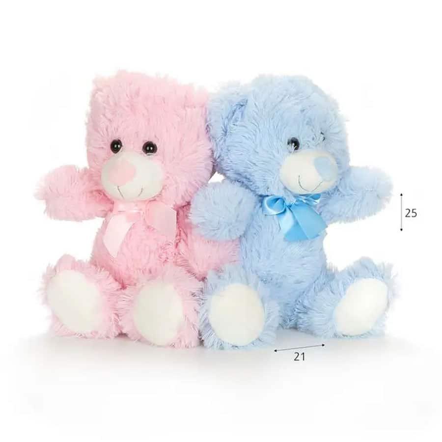 זוג דובי פרווה רכים ורוד+כחול