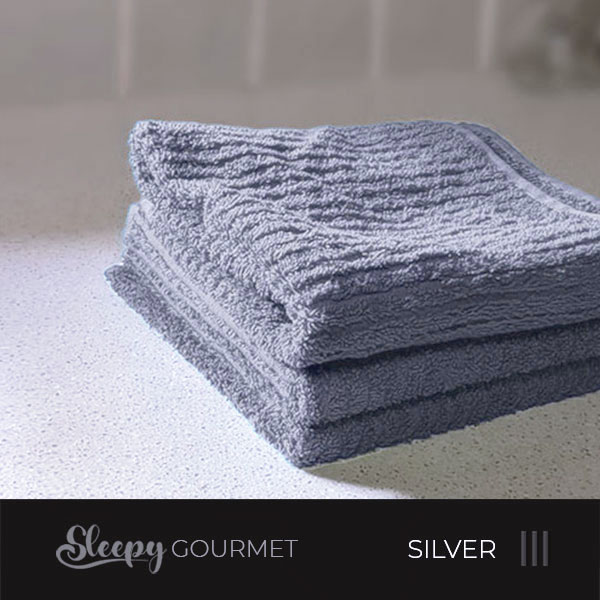 מגבות מטבח איכותיות - אפור כסף סליפי
